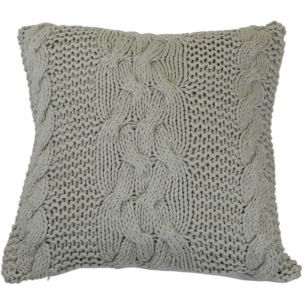 Antoinette Knitted Cotton Scatter Cushion Cover, Taupe