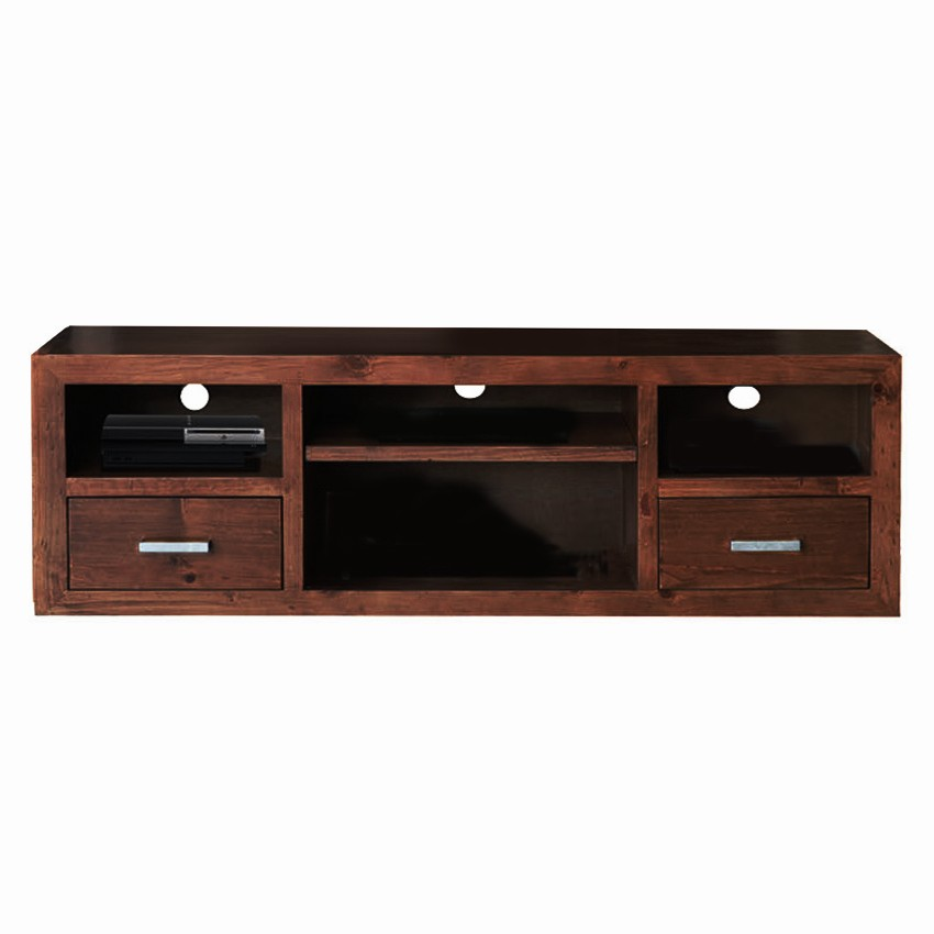 Cube New Zealand Pine Timber 2 Door TV Unit, 170cm, Walnut