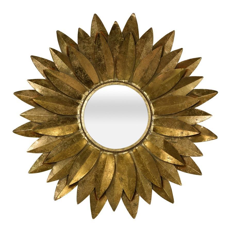 Dahlia Metal Frame Wall Mirror, 88cm, Antique Gold