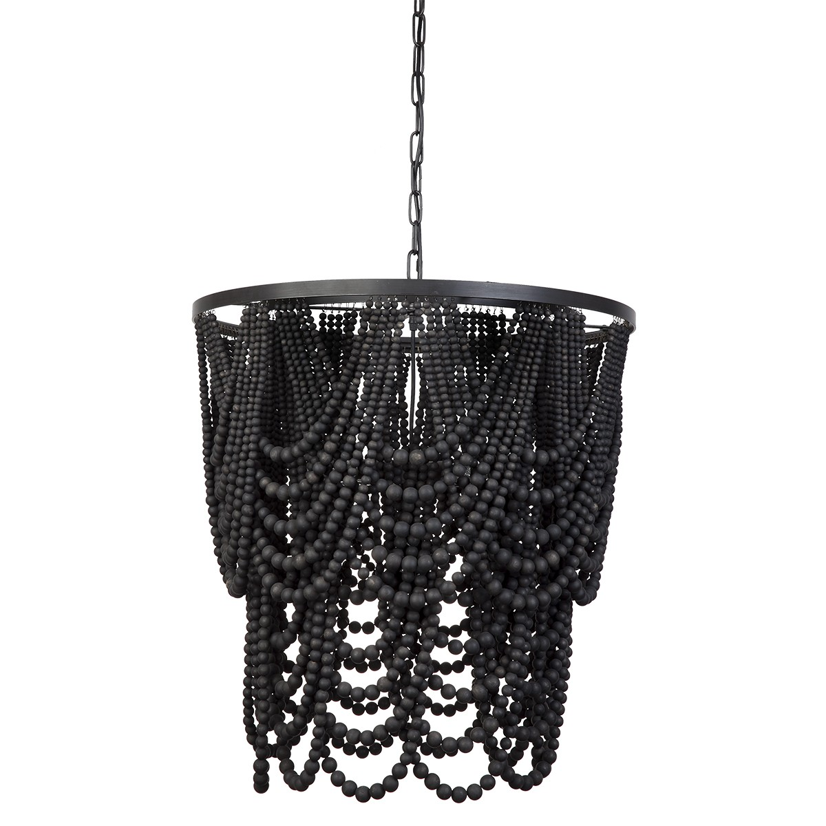 Bilgola Hand Crafted Wooden Beads Pendant Light, Black