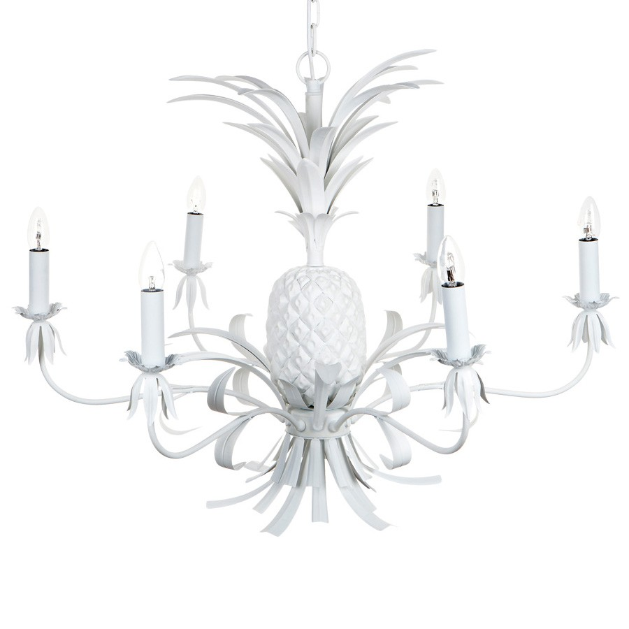Hacienda Iron Chandelier, 6 Arm, White