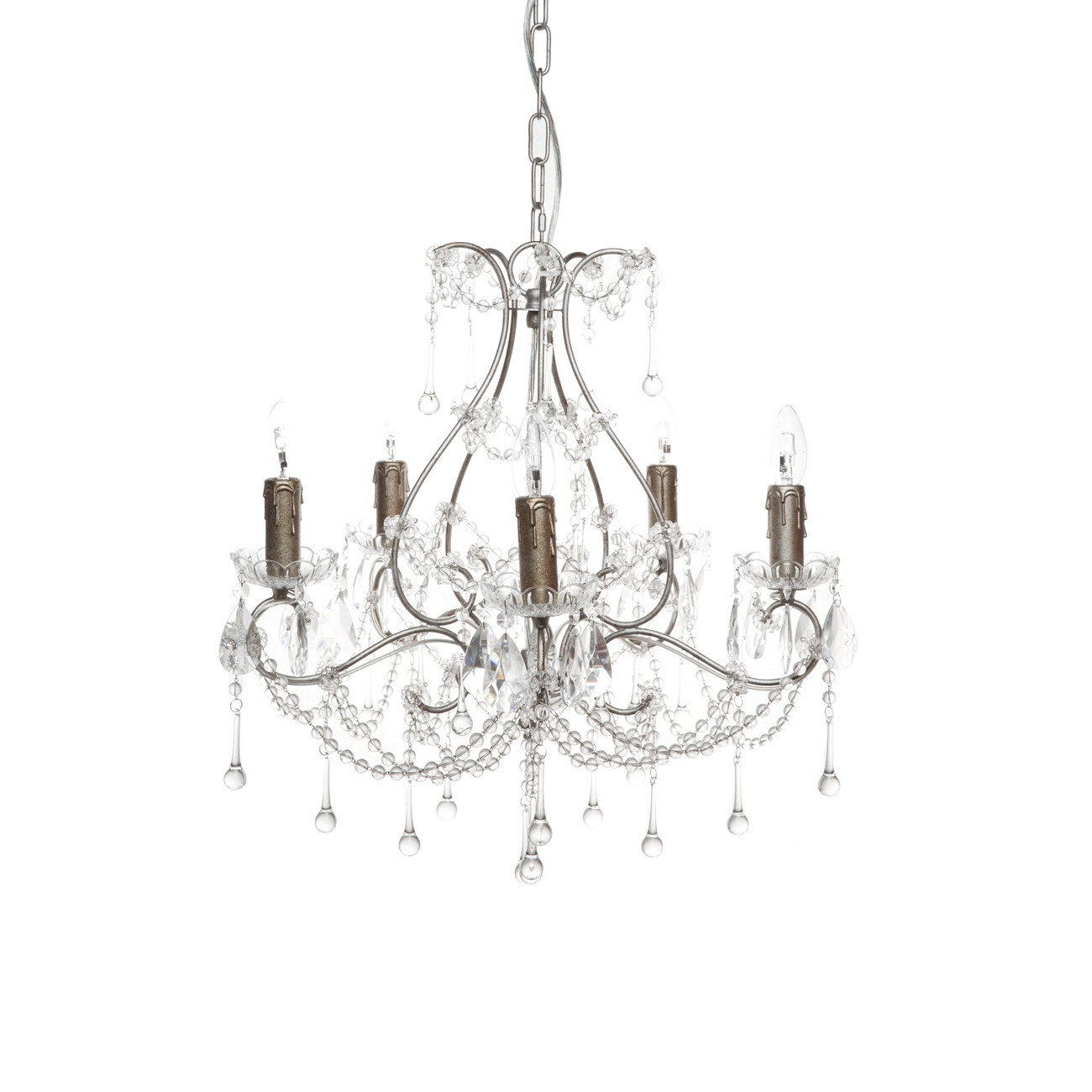 Houston Metal & Crystal Chandelier, 5 Arm, Antique Silver