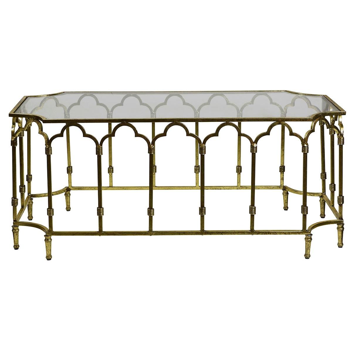 Windsor Glass Top Metal Coffee Table, 110cm