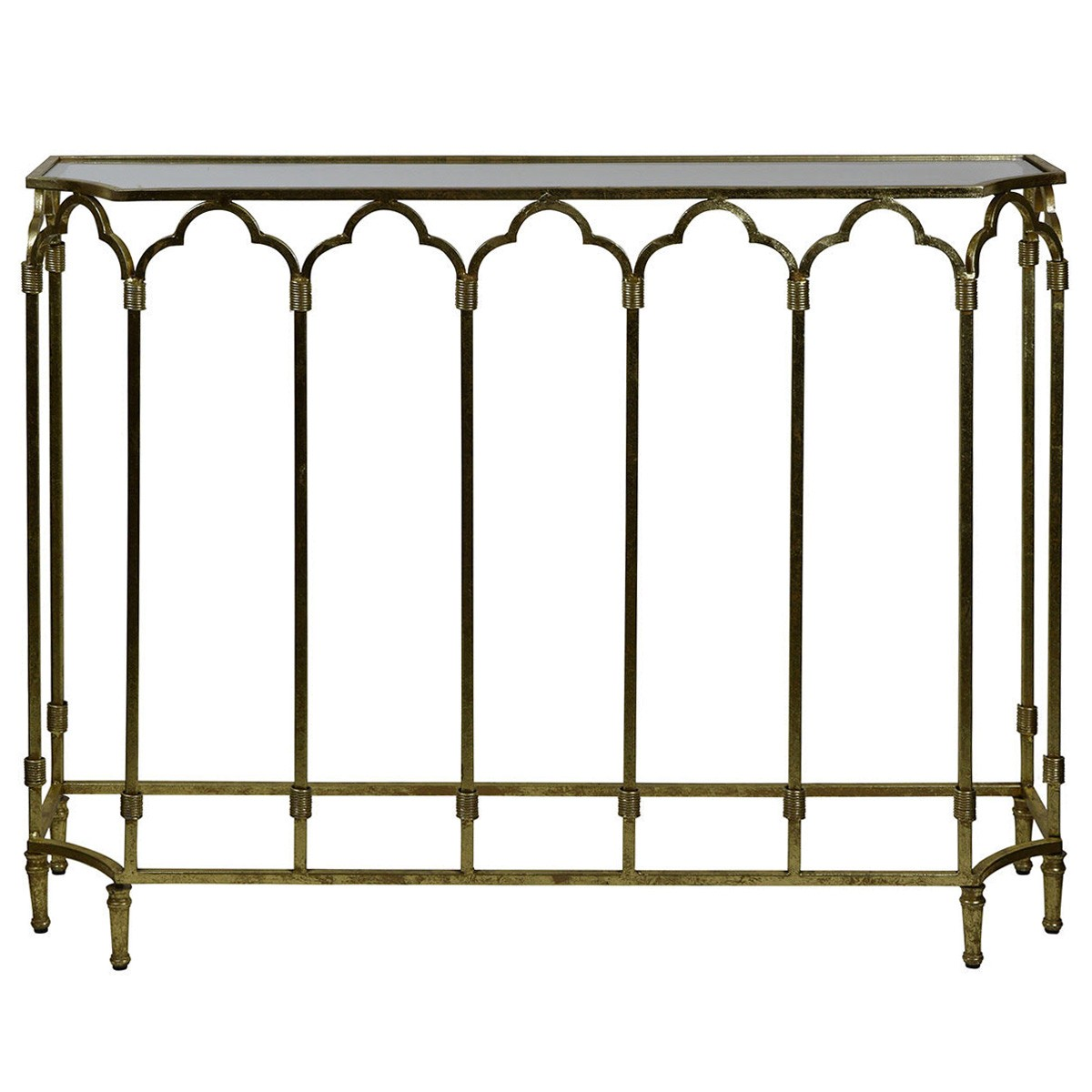Windsor Glass Top Metal Console Table