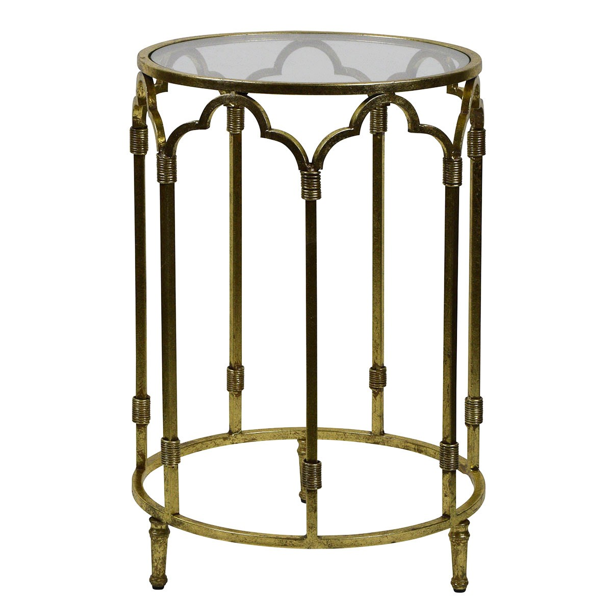 Windsor Glass Top Metal Round Side Table