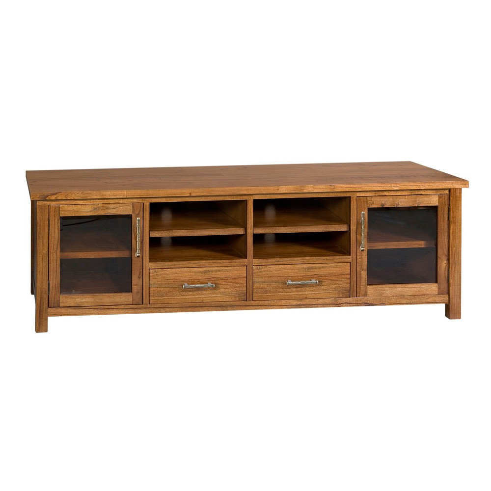 Montana Hardwood Timber 2 Door 2 Drawer TV Unit, 223cm