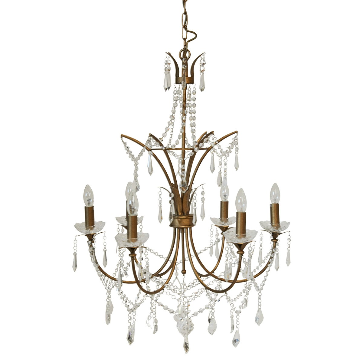 St Pierre Iron & Glass Chandelier, 6 Arm