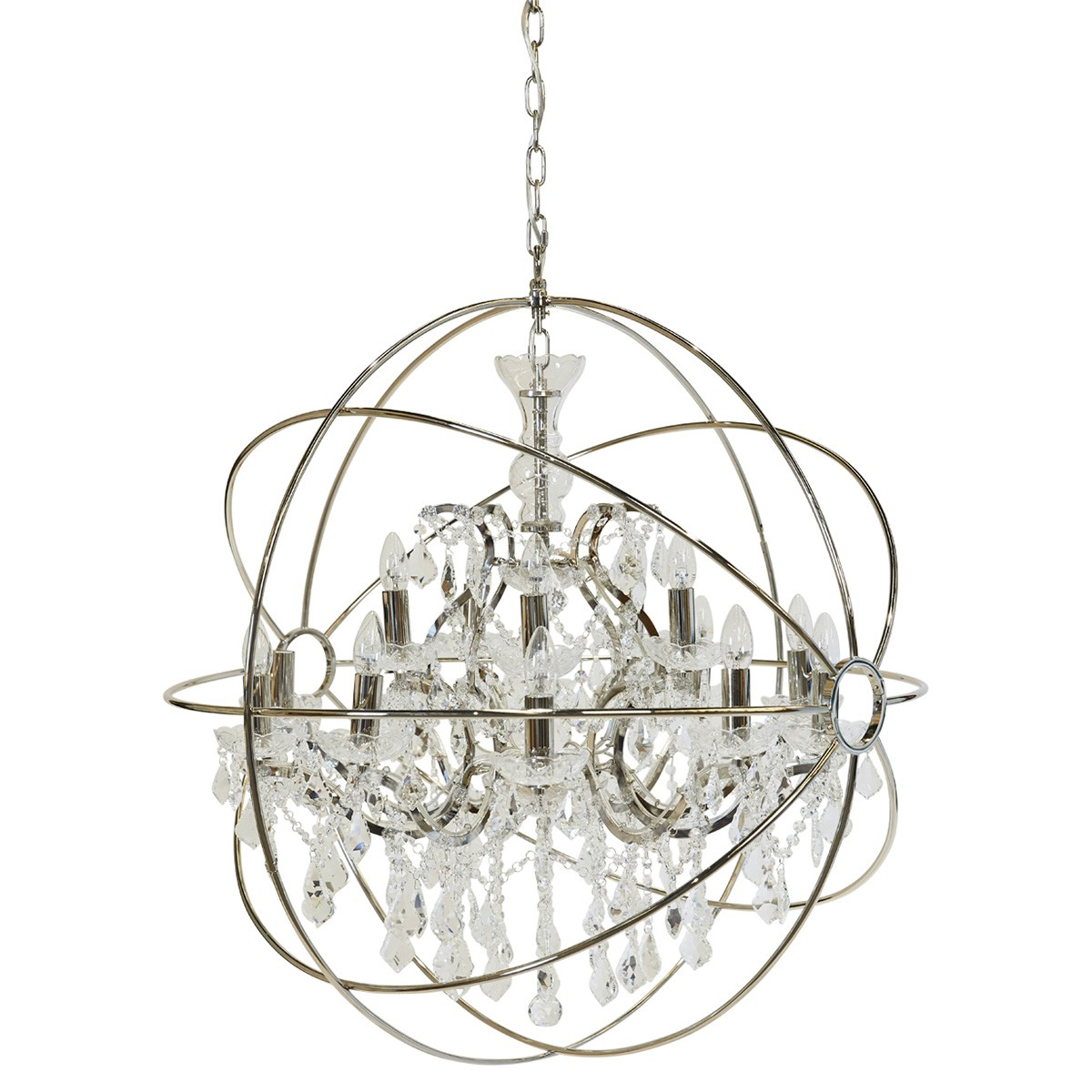 Oscar Iron & Glass Chandelier, 15 Arm, Nickel