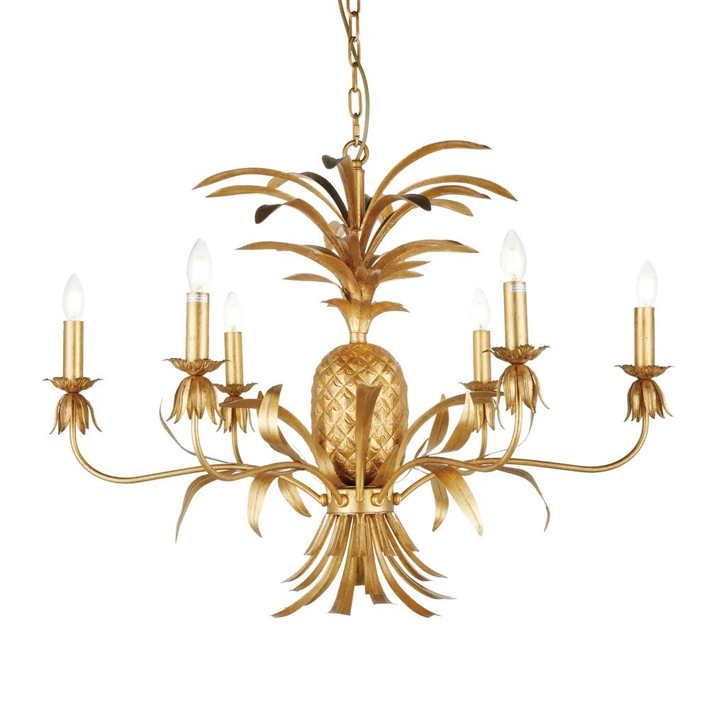 Hacienda Iron Chandelier, 6 Arm, Antique Gold