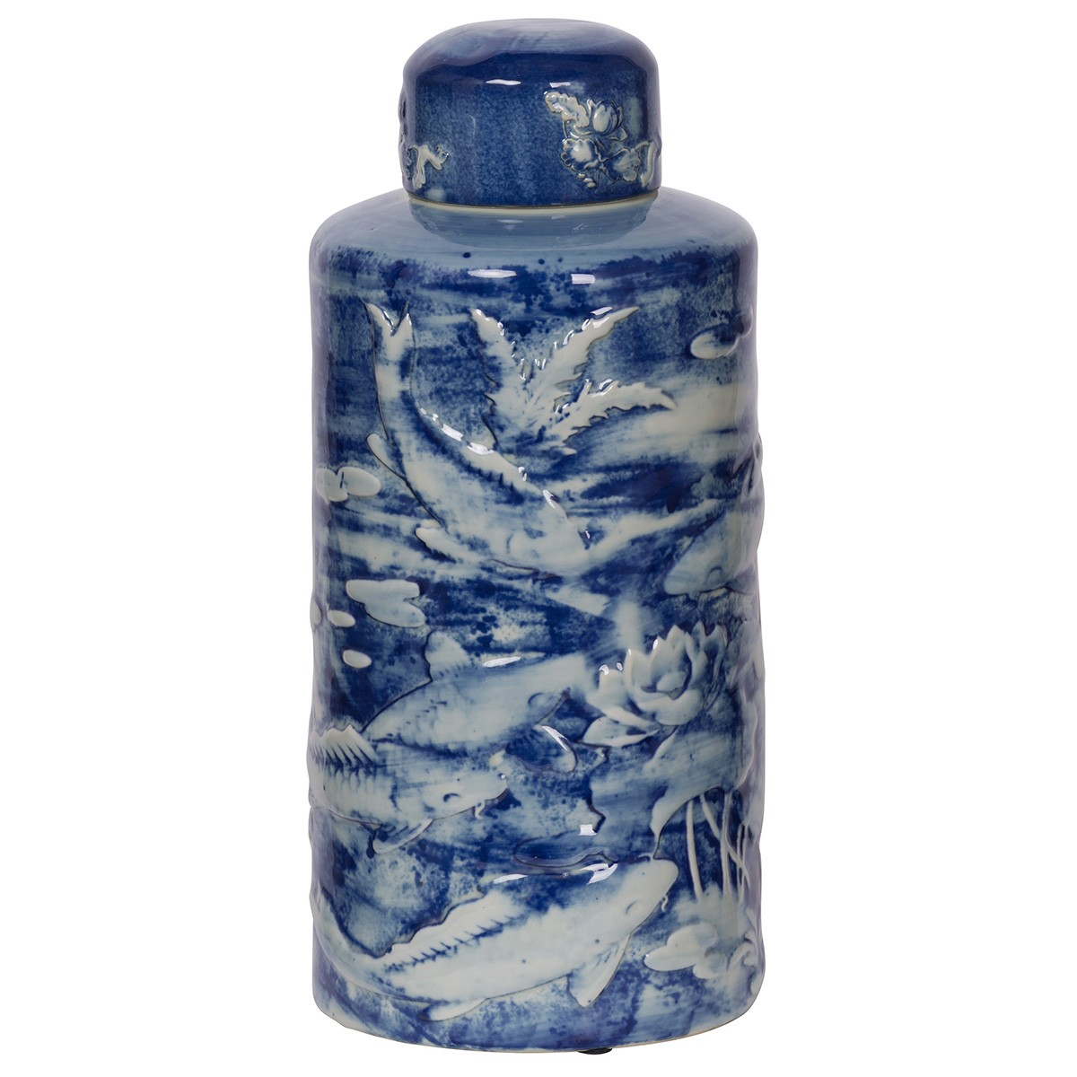 Oriental Charm Ceramic Lidded Jar, Carp Pond