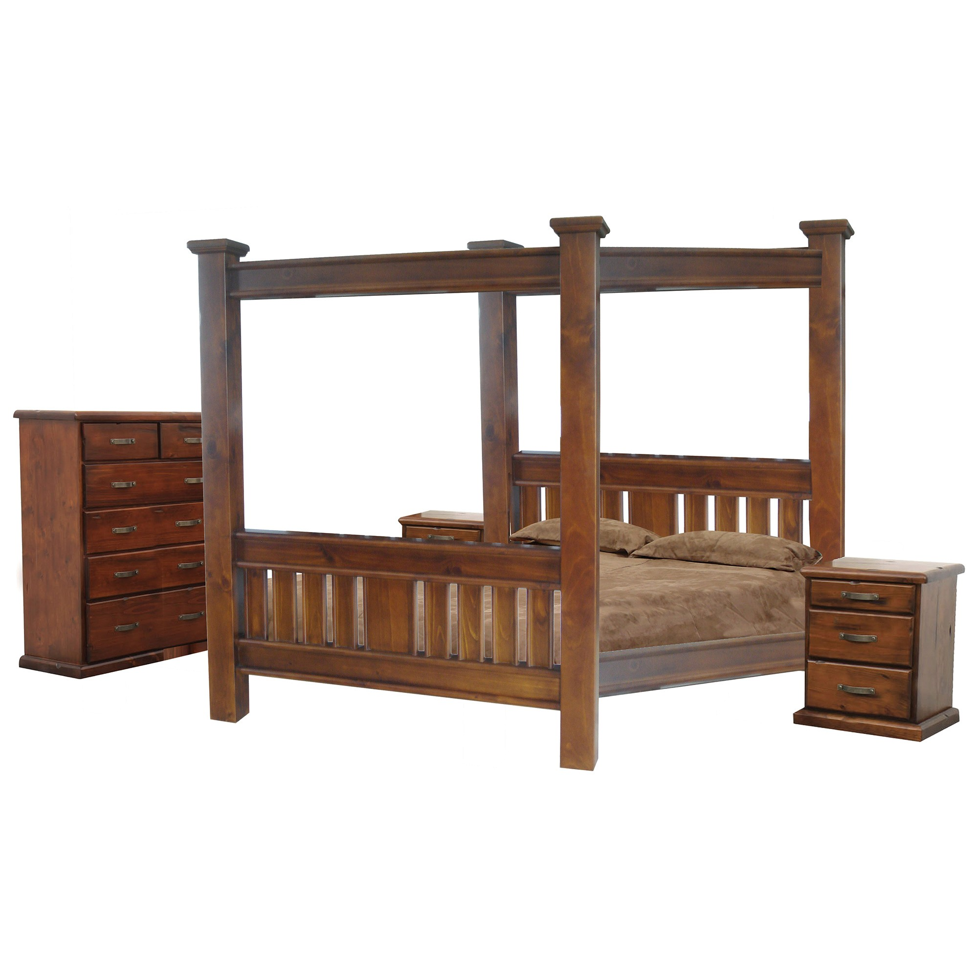 Spring New Zealand Pine Timber 4 Post Bed, Queen