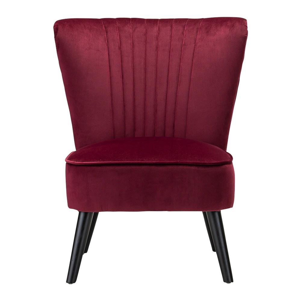 Jessi Velvet Fabric Slipper Accent Chair, Merlot