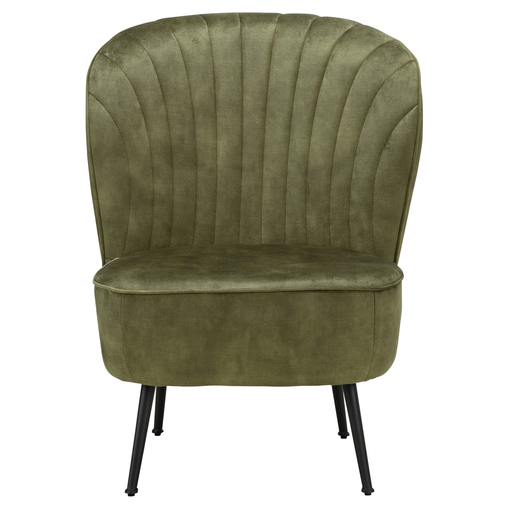 Shell Velvet Fabric Slipper Accent Chair, Moss Green