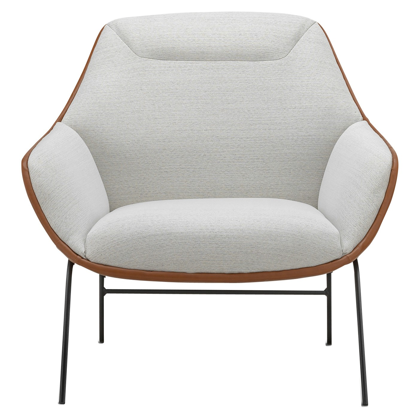 Mii Fabric & Vegan Leather Occasional Lounge Armchair, Dove White / Tan