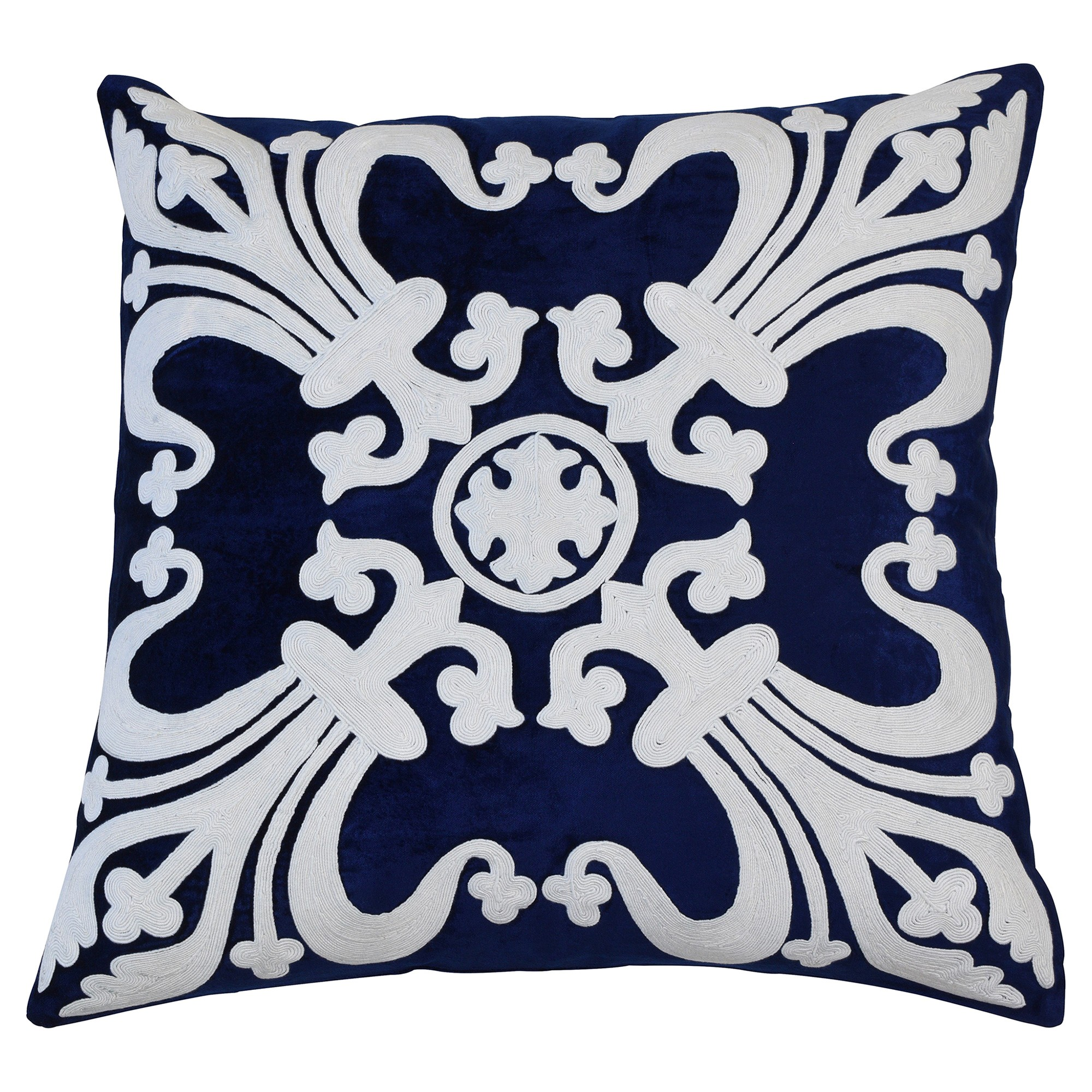 Provence Embroider Velvet Scatter Cushion Cover, Navy