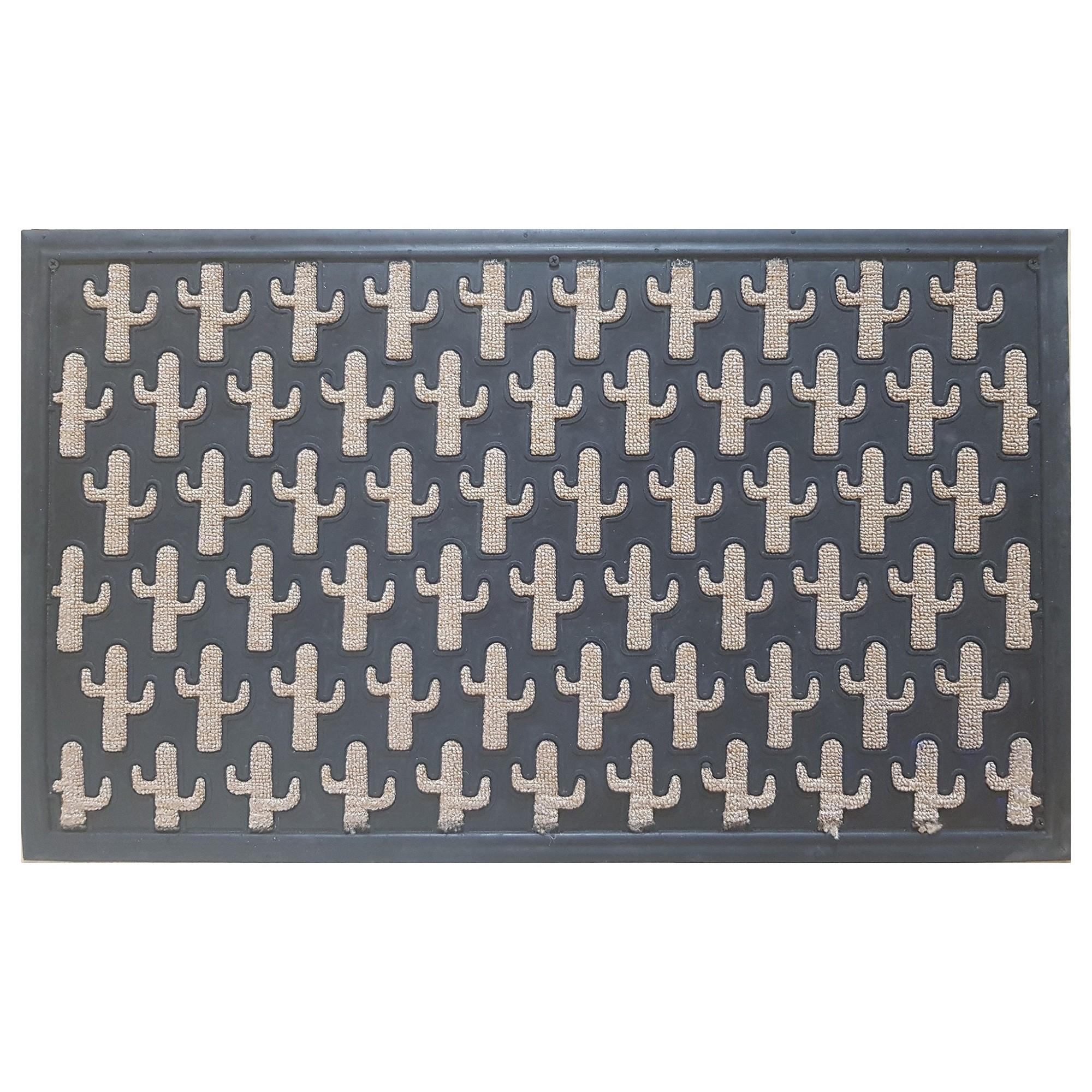 Cactus Pattern Rubber Doormat, 75x45cm