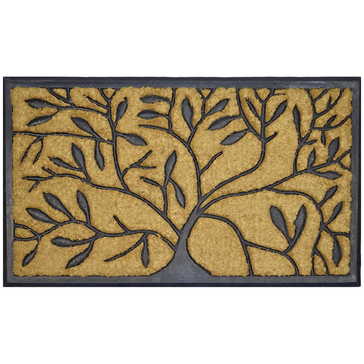 Tree Pattern Coir & Rubber Doormat, 75x45cm