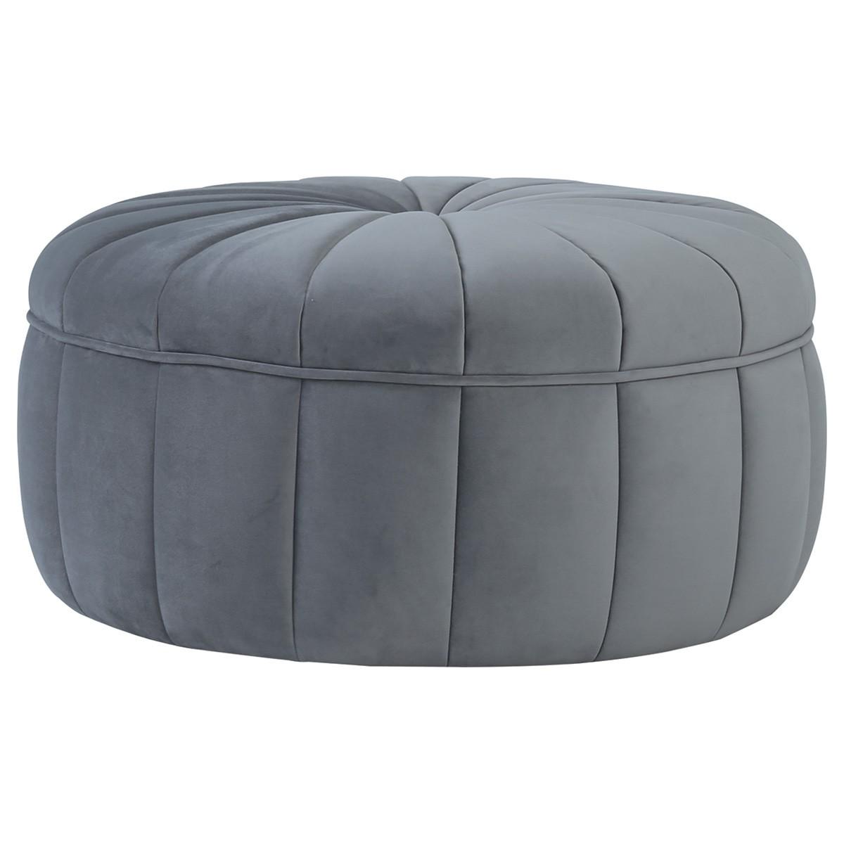 Probe Fabric Round Ottoman, Grey