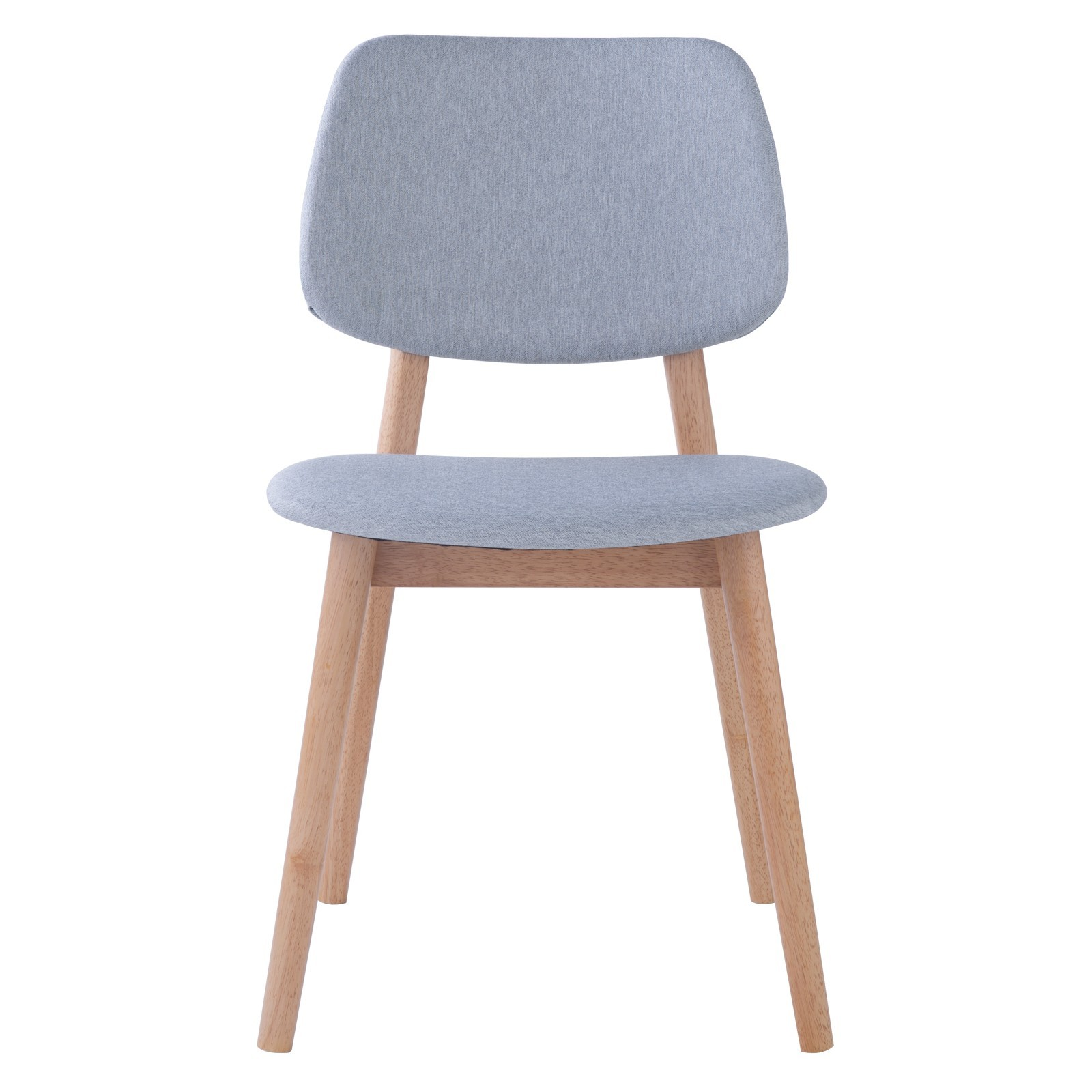 Mercy Oak Timber Dining Chair, Fabric Back, Natural / Light Grey