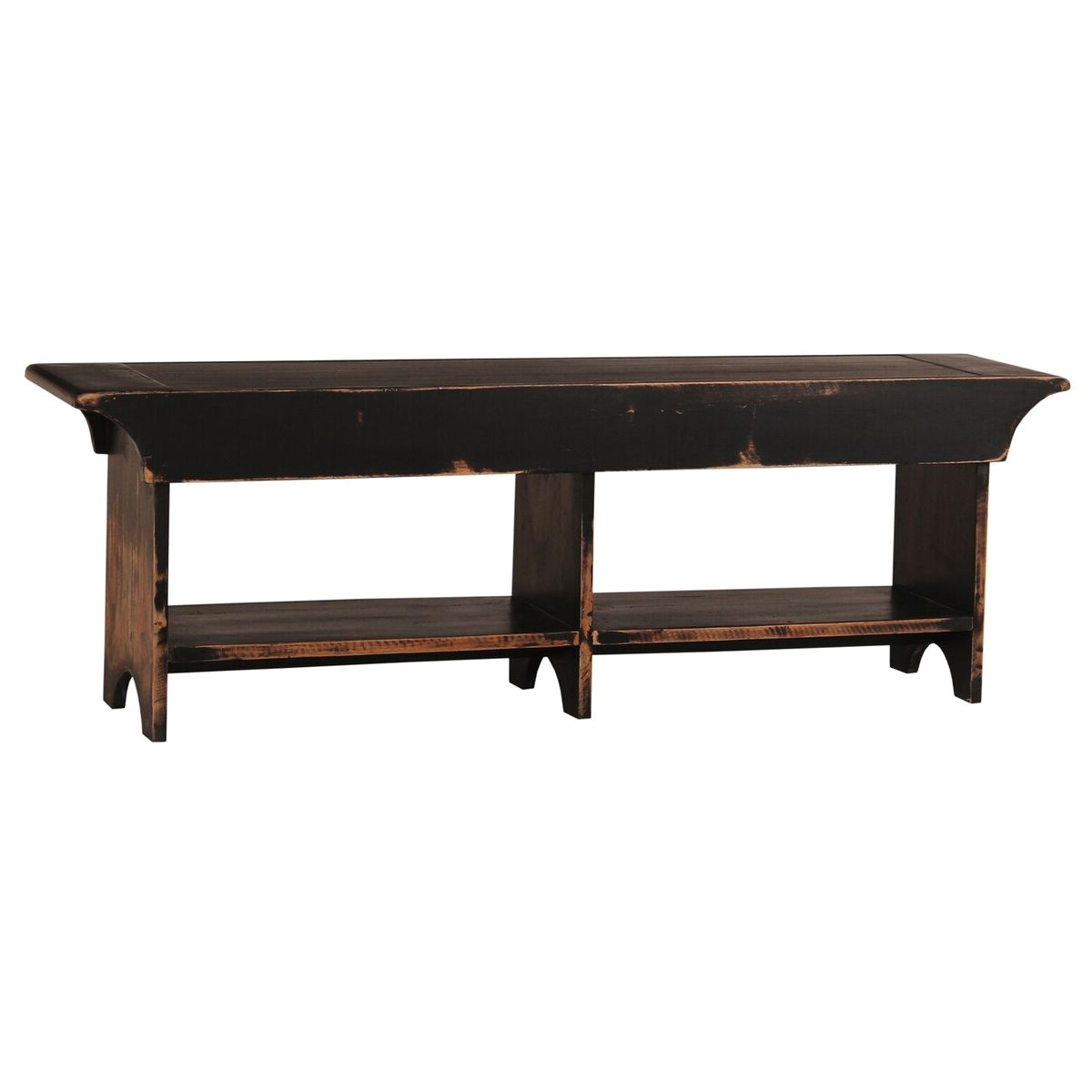 Clamecy Mahogany Timber Bench, 140cm, Distressed Black