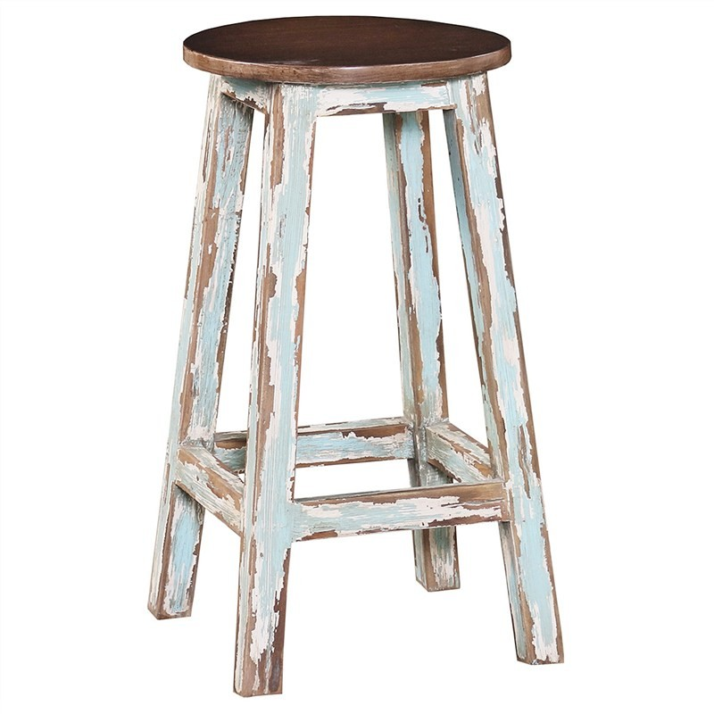 Rosson Mahogany Timber Counter Stool, Antique Oak / Distressed Light Blue
