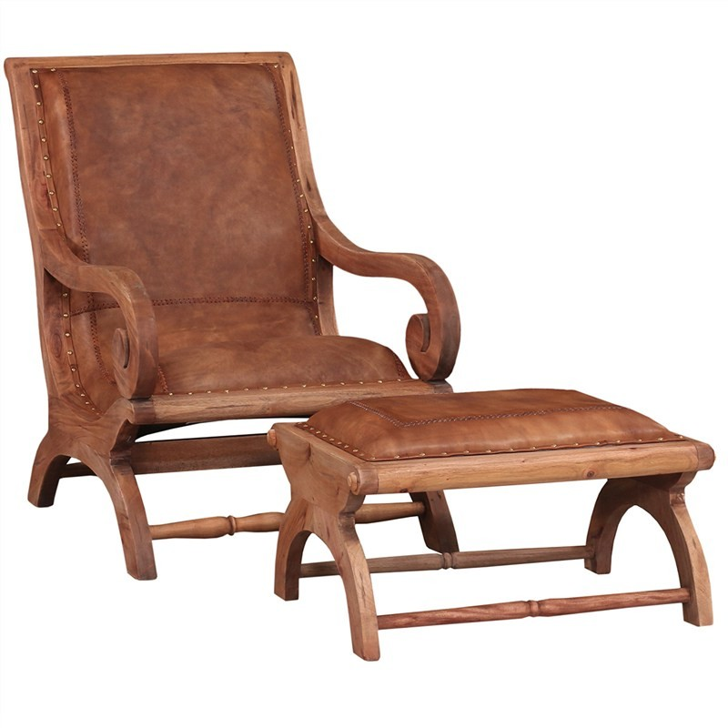 Debby Leather and Mahogany Timber Lazy Chair with Foot Stool