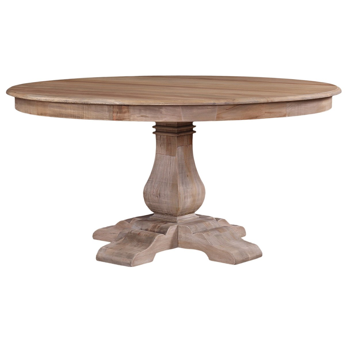 Calverton Mahogany Timber Round Dining Table, 153cm, Vintage Birch