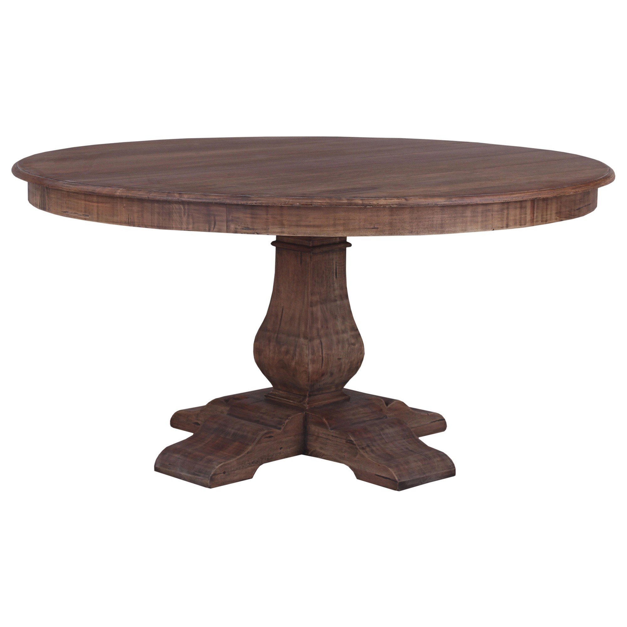 Calverton Mahogany Timber Round Dining Table, 153cm, Antique French Oak