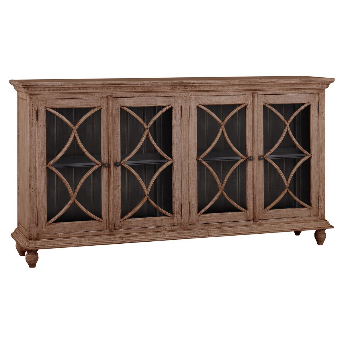 Swansea Mahogany Timber 4 Door Buffet Table, 208cm, Sorel Brown