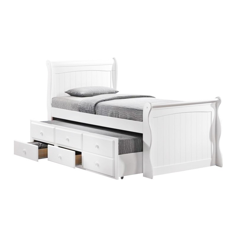 Sleigh New Zealand Pine Timber Captain Bed with Trundle, Single