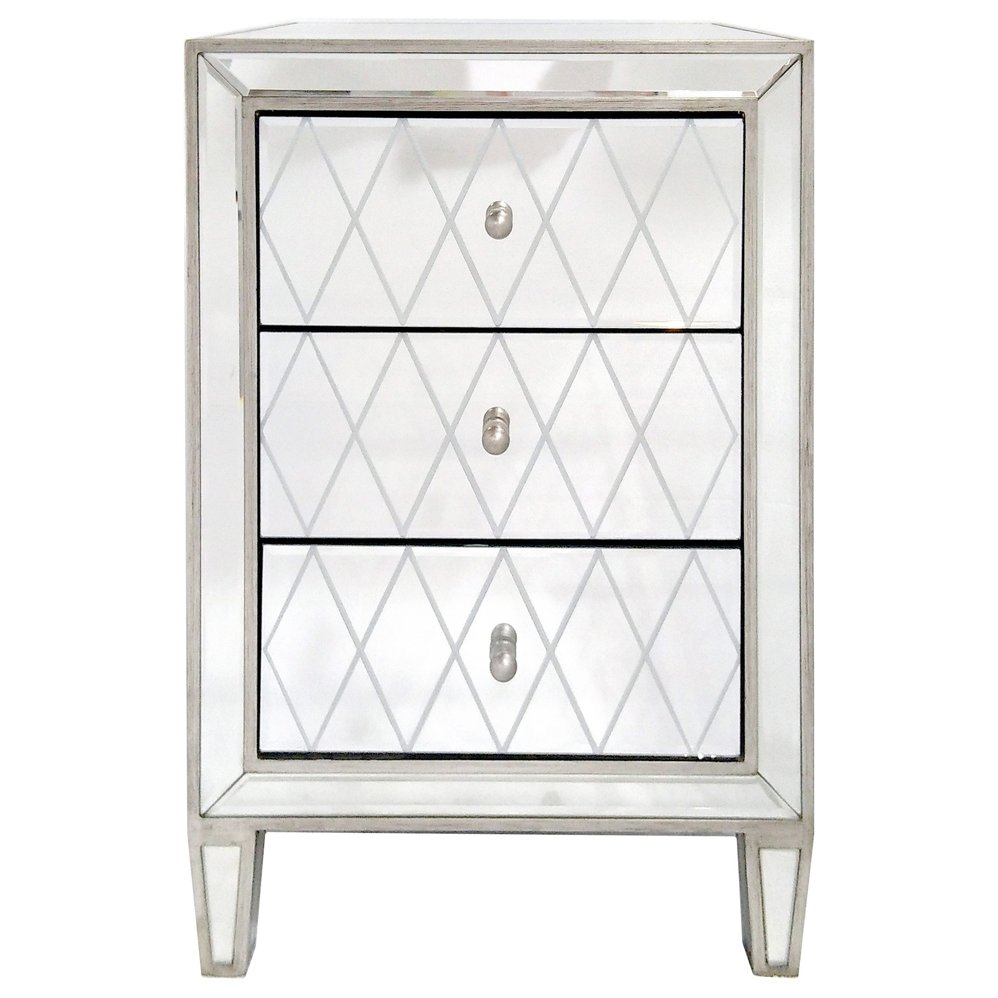 Krystal Mirrored 3 Drawer Bedside Table