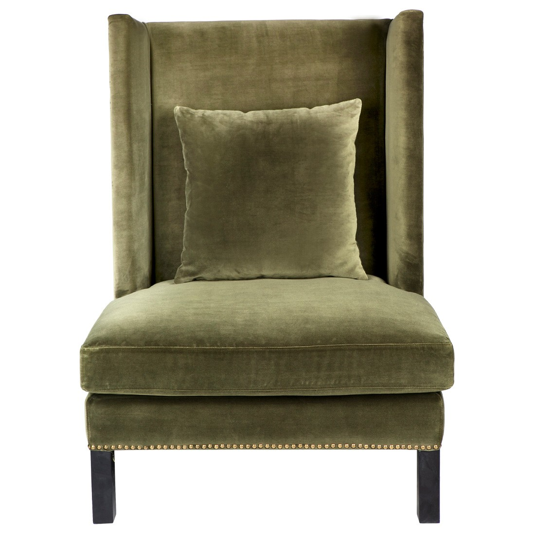 Lourdes Fabric Wing Chair, Moss