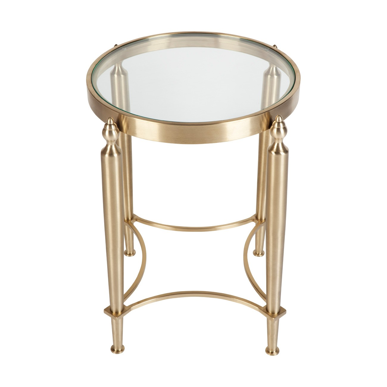 Jacques Glass Top Stainless Steel Round Side Table, Gold
