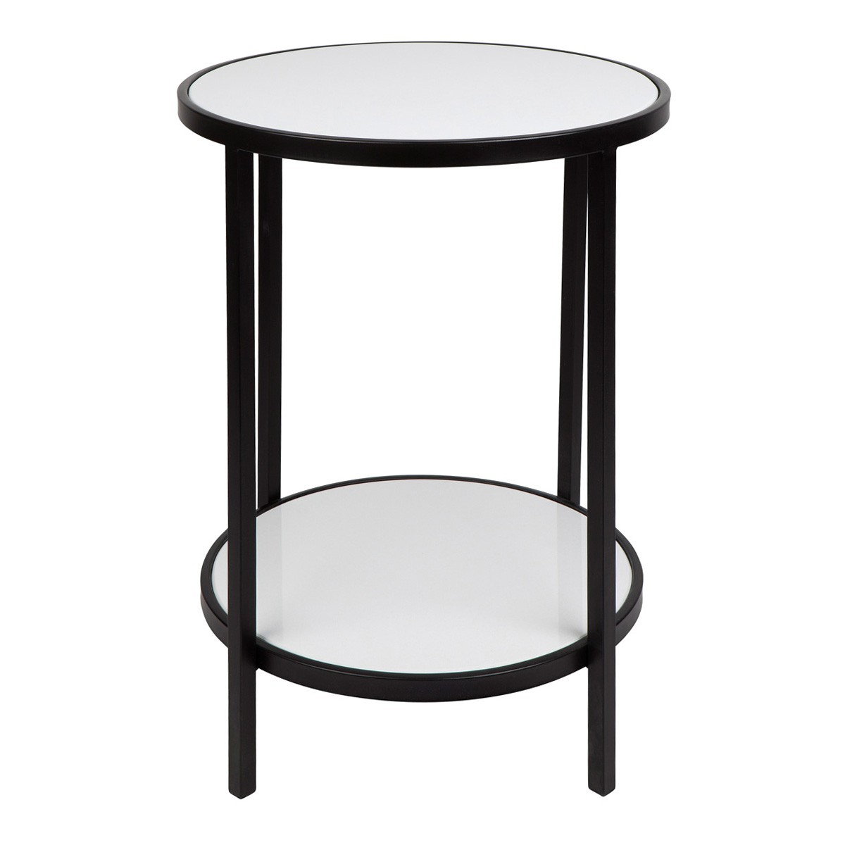 Cocktail Stone Top Iron Round Side Table, Black