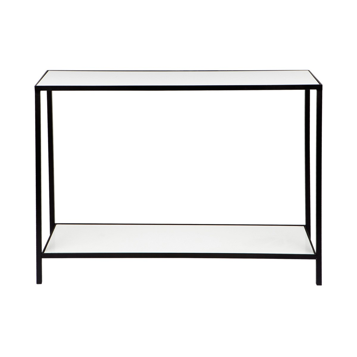 Cocktail Stone Top Iron Console Table, Black