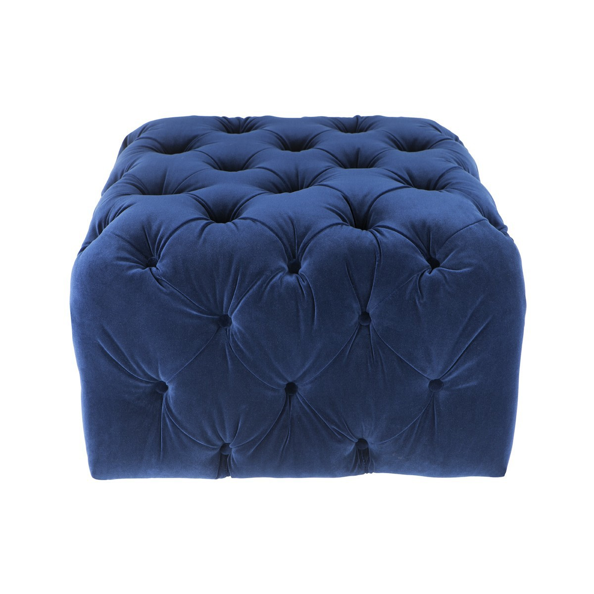 Leah Tufted Fabric Square Pouf, Navy