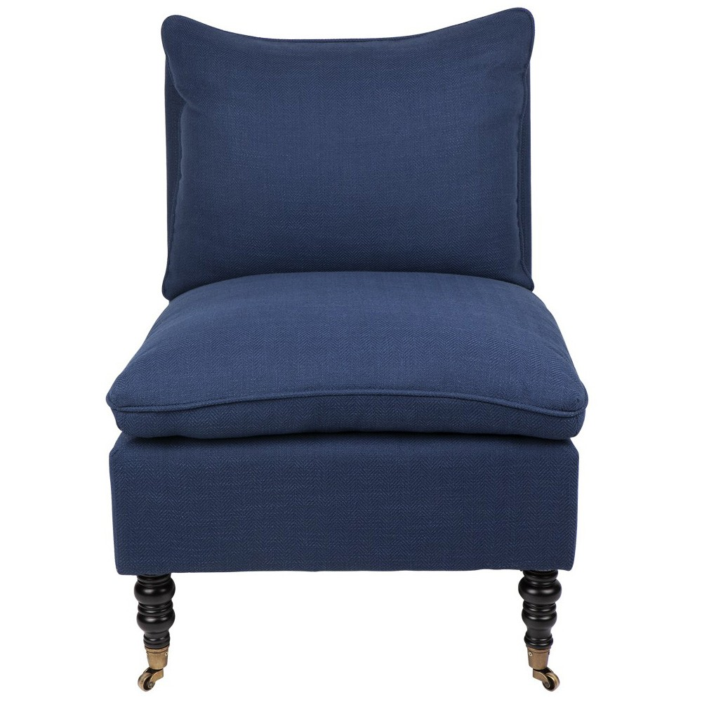 Candace Fabric Lounge Chair, Navy