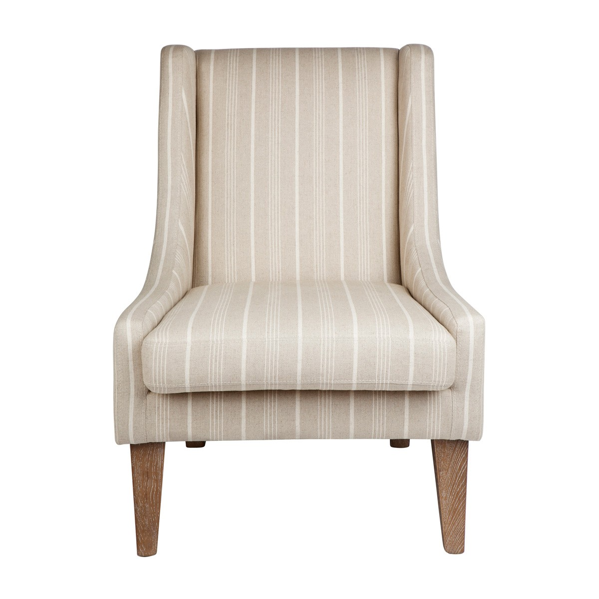 Hampton Fabric Lounge Armchair, Beige Stripes