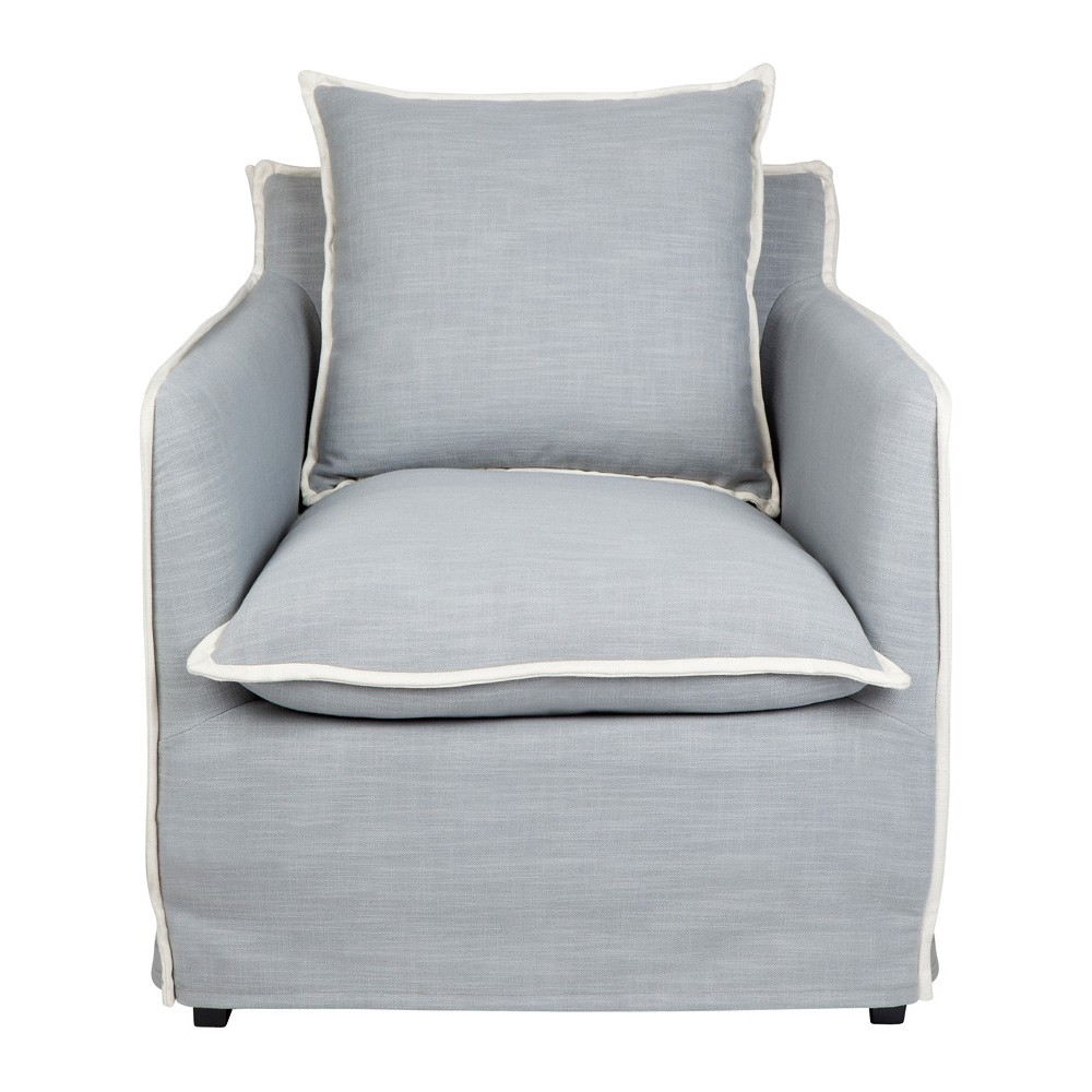 Long Island Fabric Lounge Armchair, Dove Grey