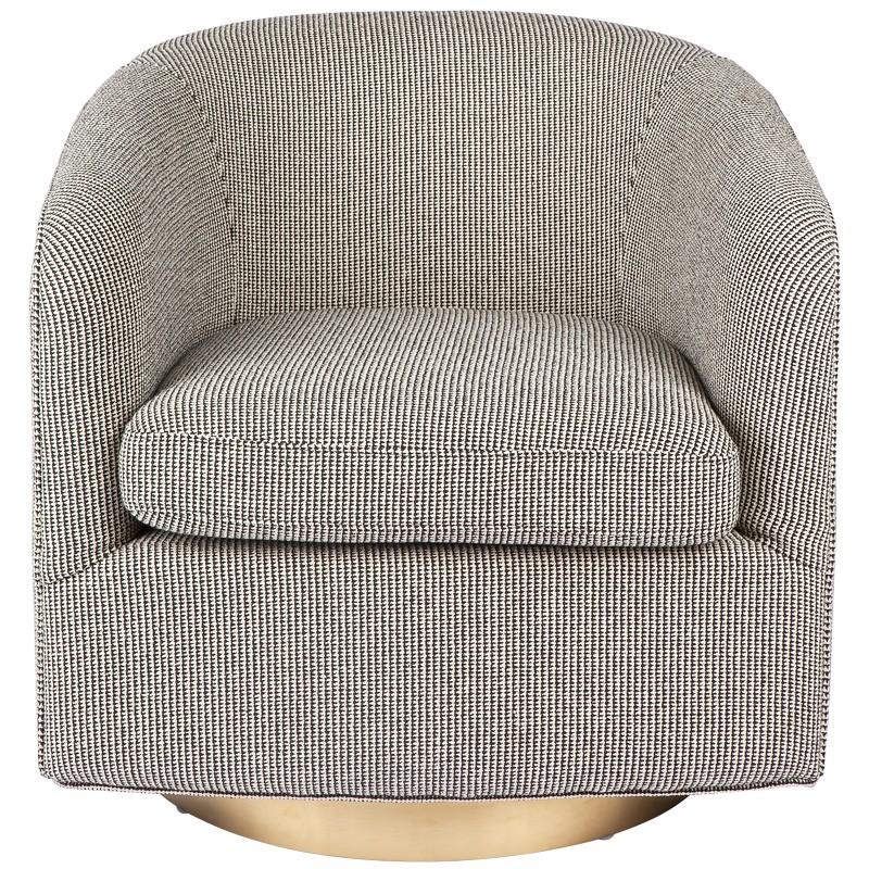 Belvedere Fabric Swivel Armchair, Black / White