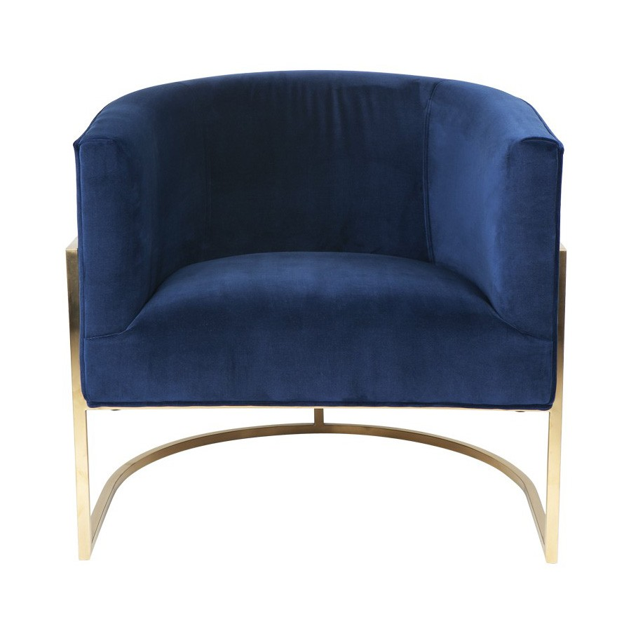 Amoret Velvet Fabric Tub Armchair, Navy