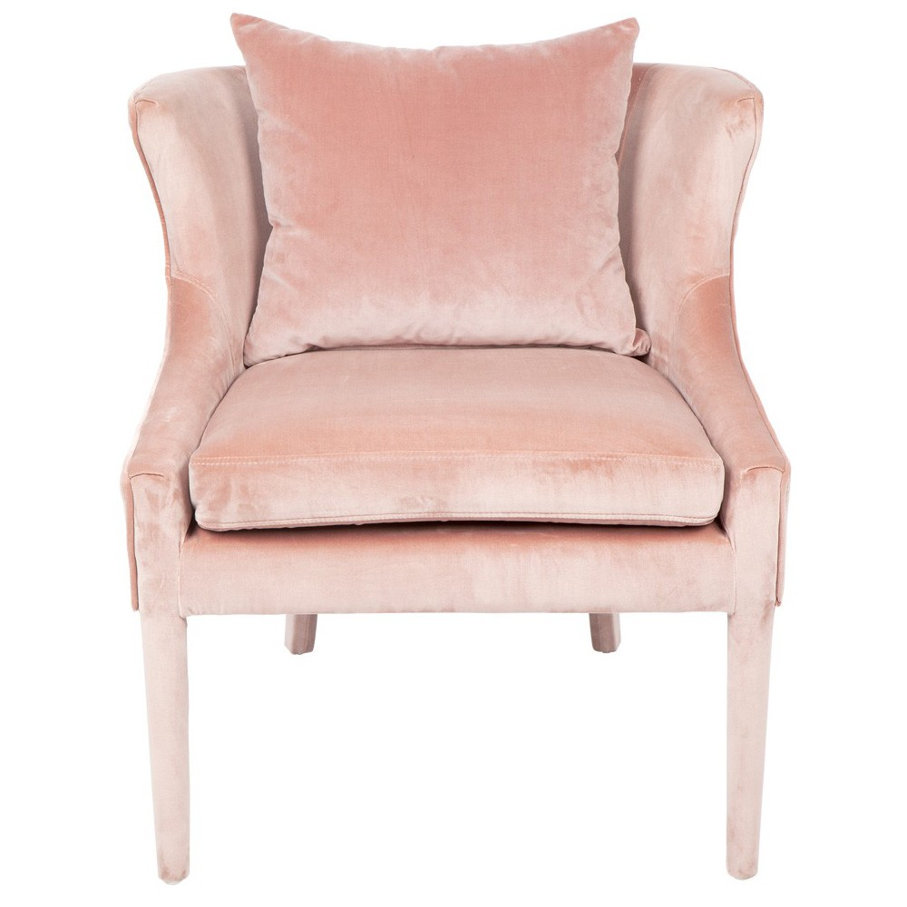 Tillie Velvet Fabric Lounge Chair, Blush