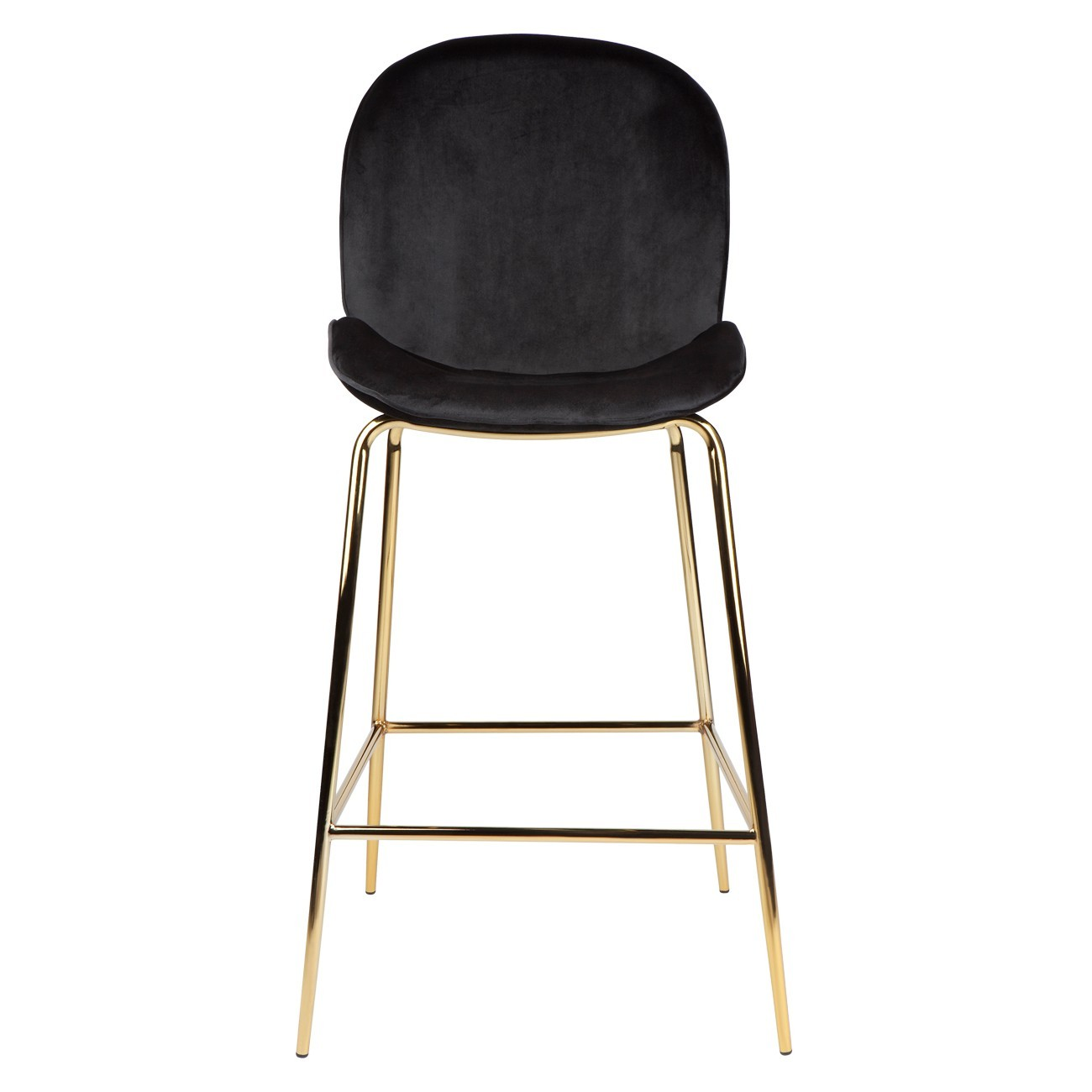 Quill Velvet Fabric Bar Stool, Black
