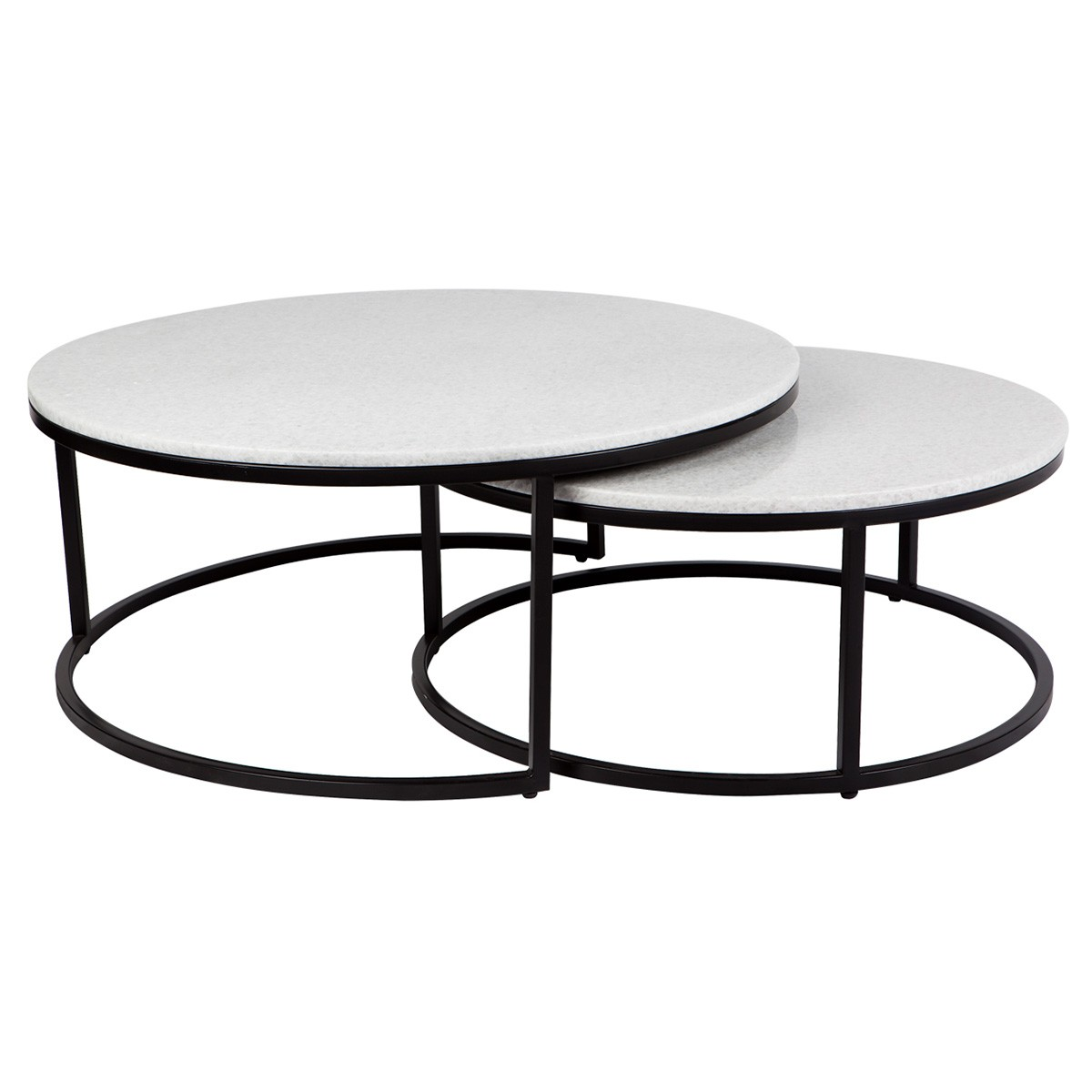 Chloe 2 Piece Iron & Stone Nested Coffee Table Set, 95cm, Black