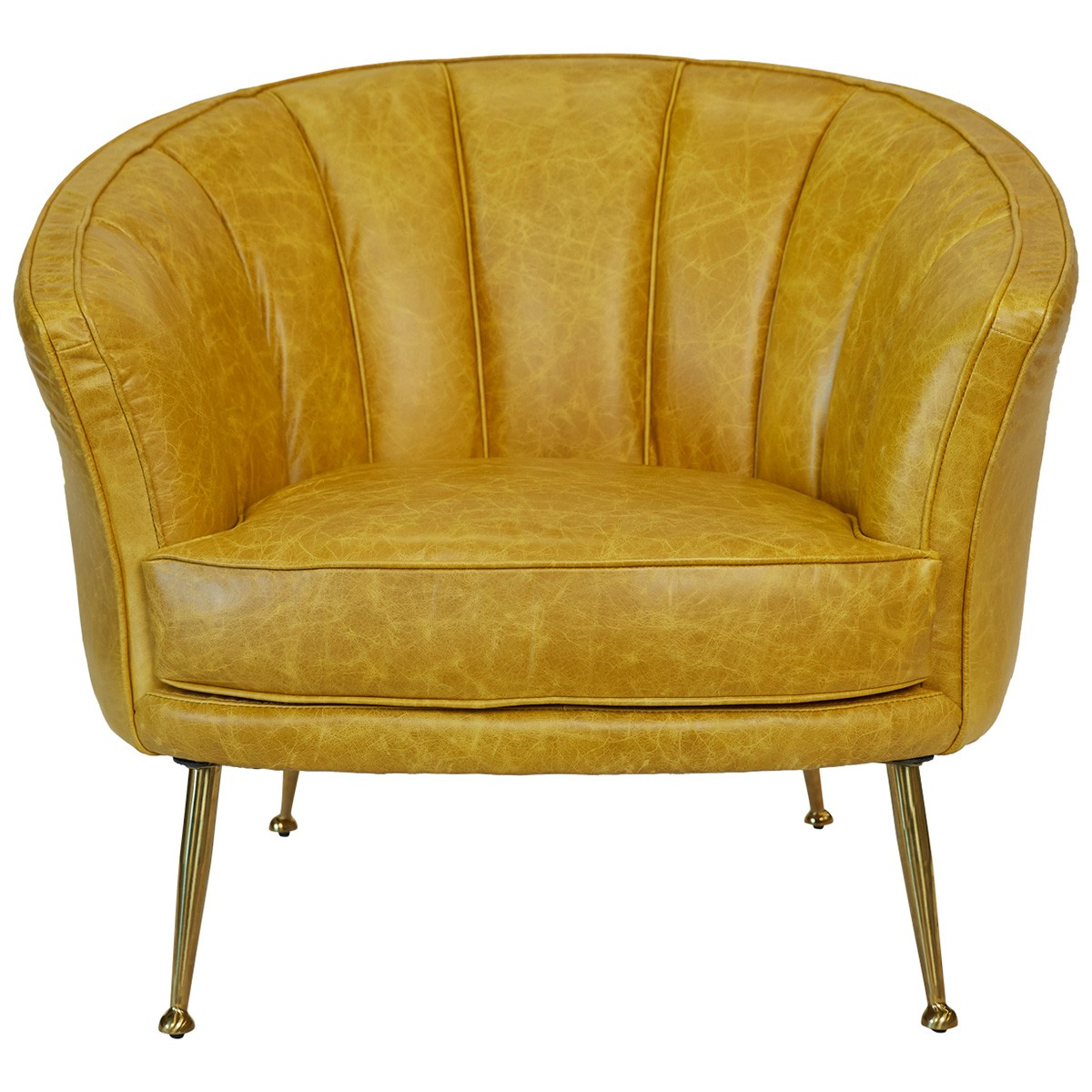 Studio Leather Armchair, Mustard