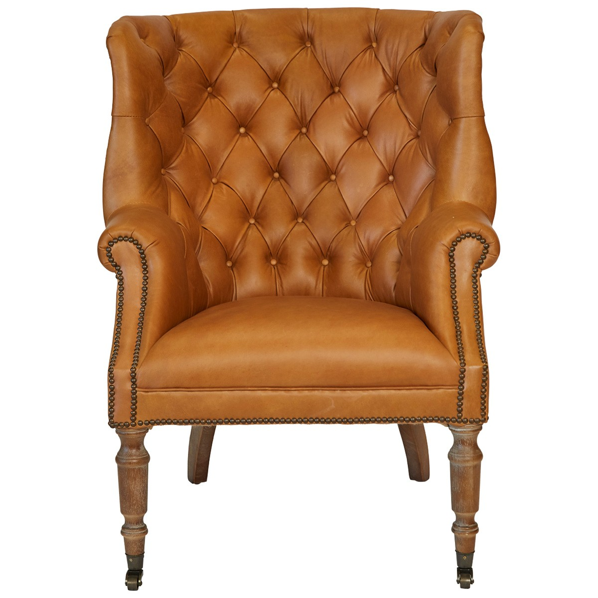 Gerrard Top Grain Leather Wingback Armchair with Castors, Honey