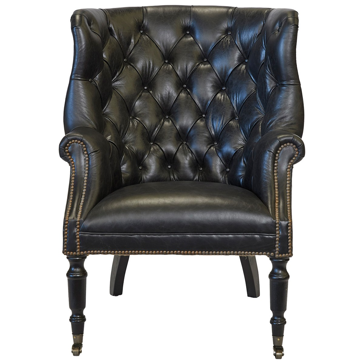 Gerrard Top Grain Leather Wingback Armchair with Castors, Black
