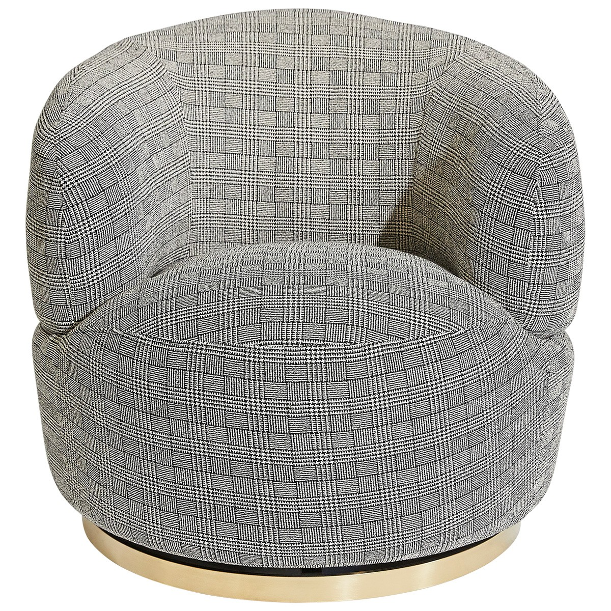 Tubby Fabric Swivel Armchair, Black Plaid