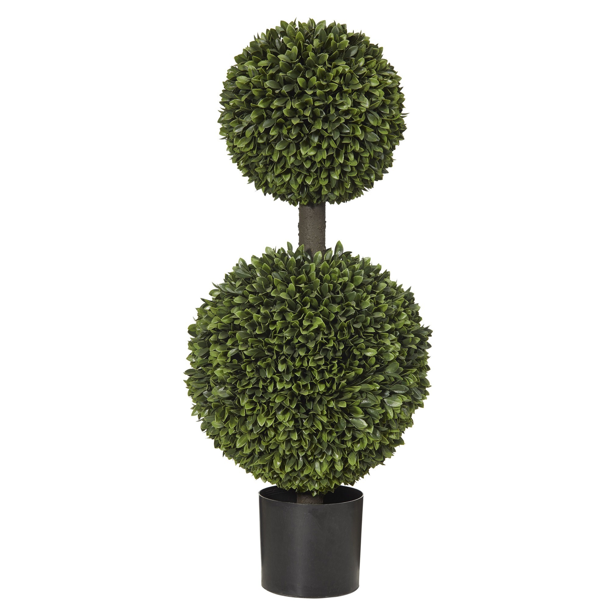Potted Artificial Box Leaf Double Ball Topiary, 92cm