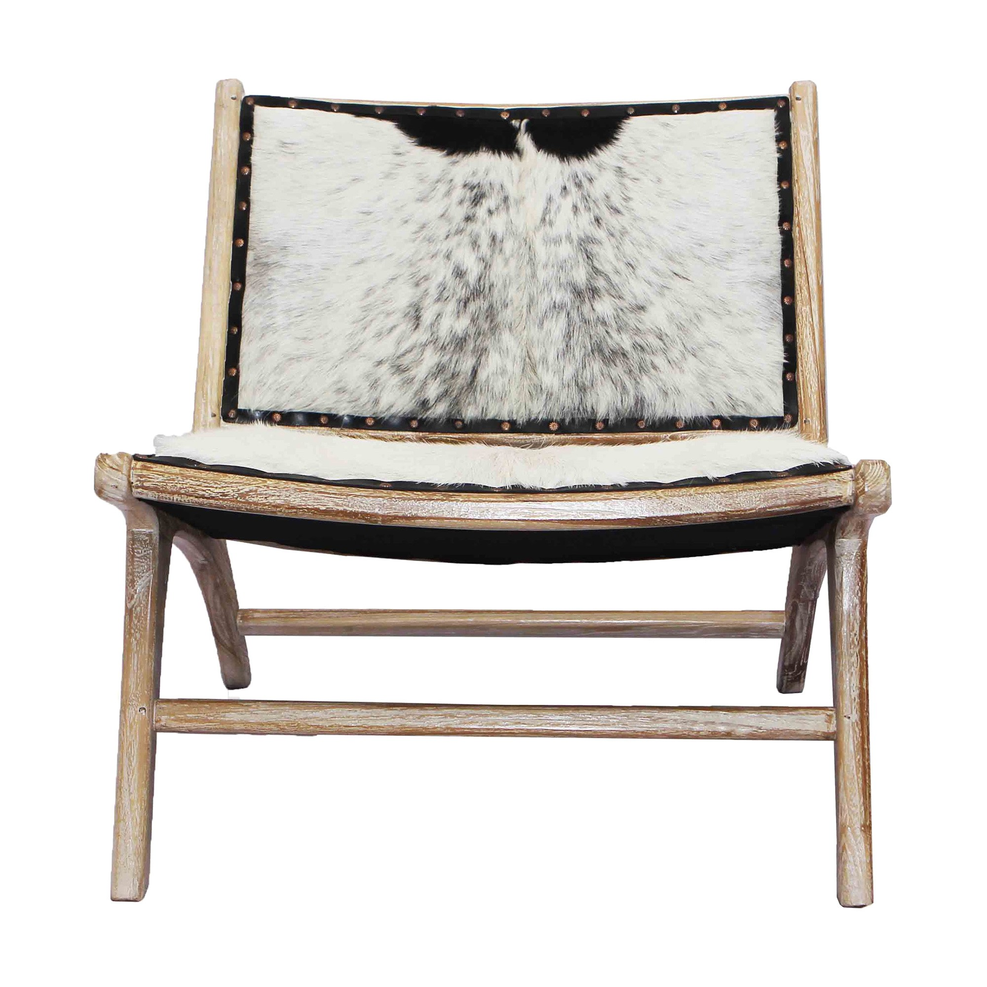 Molly Goat Hide & Teak Timber Lounge Chair